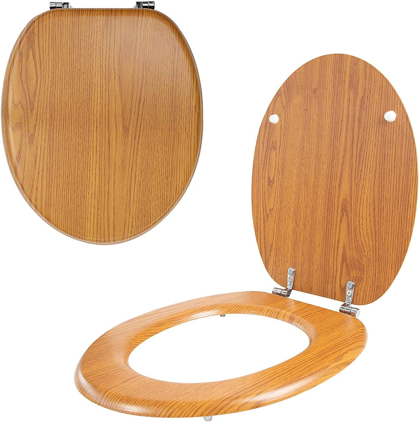 Asiento de inodoro con efecto de pino envejecido con bisagras cromadas y fijaciones para ajuste universal de tama/ño est/ándar