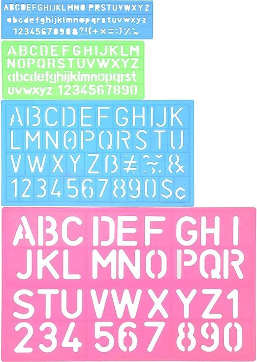 Shappy 4 Piezas Plantilla de Letras Plantilla de Alfabeto Regla de Manualidad de Número Letra Plantillas Decorativas de Plástico Set de Guías, Colores Surtidos: Amazon.es: Hogar