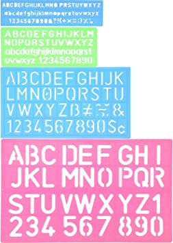 Shappy 4 Piezas Plantilla de Letras Plantilla de Alfabeto Regla de ...