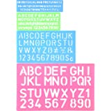 Shappy 4 Pieces Letter Stencil Alphabet Stencils Number Craft Ruler Decorative Plastic Letter Stencils Guides Set, Assorted Colors