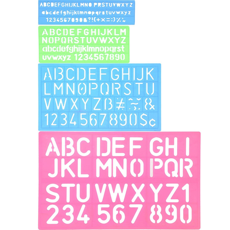 4 Pieces Letter Stencil Alphabet Stencils Number Craft Ruler Decorative Plastic Letter Stencils Guides Set, Assorted Colors Shappy 4336946682