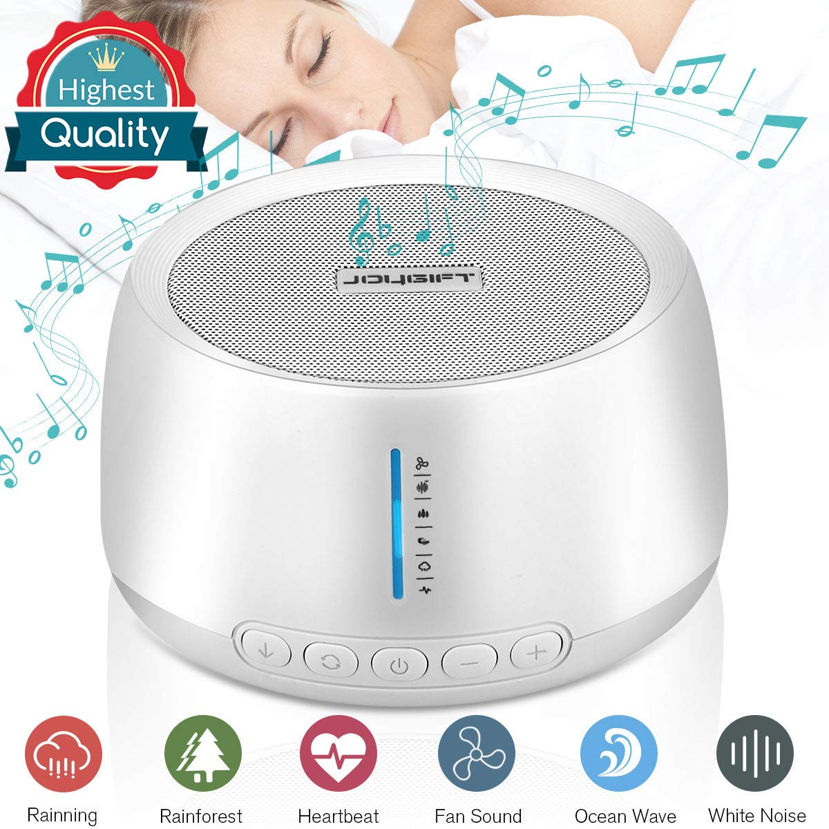 White Noise Sound Machine for Sleeping Baby Kids Adults Office Privacy Travel,Portable Sleep Therapy Relaxing Sound Machine Sleep White Noise Machine,Non-looping 6 Soothing Nature Sounds,Rechargeable