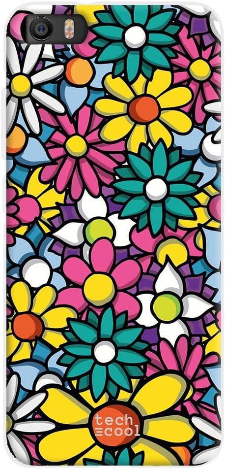 Funnytech® Funda Silicona para Xiaomi MI5 [Gel Silicona Flexible, Diseño Exclusivo] Flores Colores Siluetas
