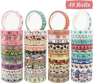 Cocoboo Seasonal Washi Tape Set, 48 Rolls 8mm Wide Masking Decorative Tape for Holiday Craft Tape, Craft Tape Washi and Craft Tape for Scrapbooking