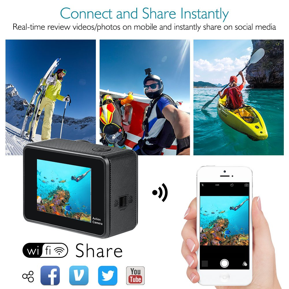 AKASO Brave 5 4K Touchscreen Waterproof WiFi Action Camera 4K Ultra HD 20MP 10M Underwater Waterproof Camera Without Case 170 Degree Wide Angle Sports Cam with 2 Batteries and Helmet Accessories Kit