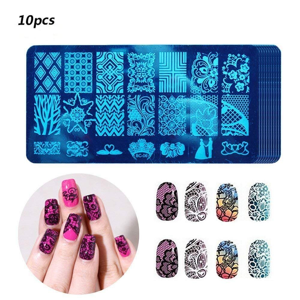 Nail Art Plaque Stamping 【10 PCs】, Vococal Acier Inoxydable Ongles Estampage Iimpression Plaque d'image Manucure Nail Art Bricolage Décor