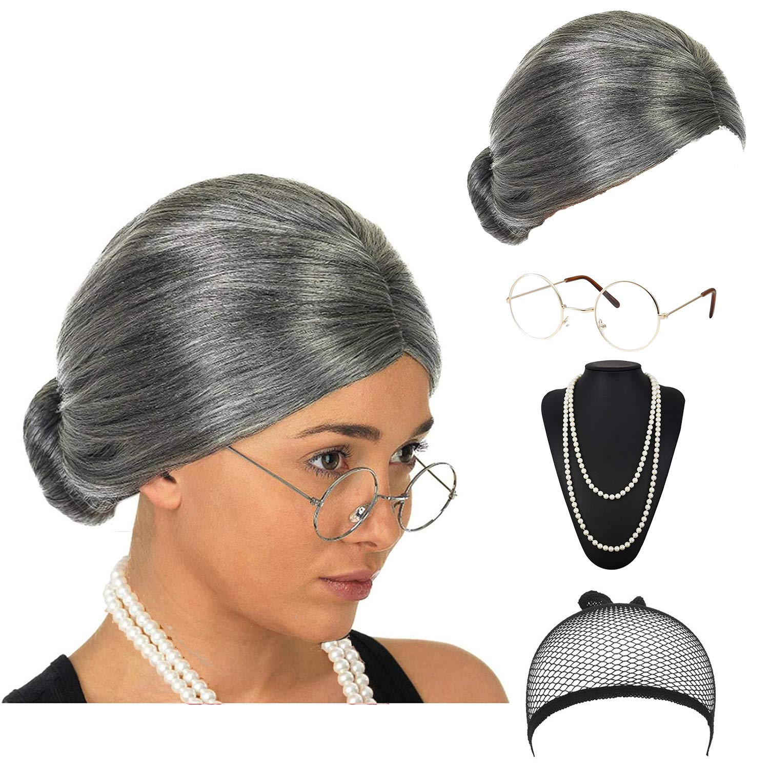eforpretty Womens Cosplay Costume Old Lady Wig w//Round Glasses /& Pearl Necklace Beads Costume Accessories