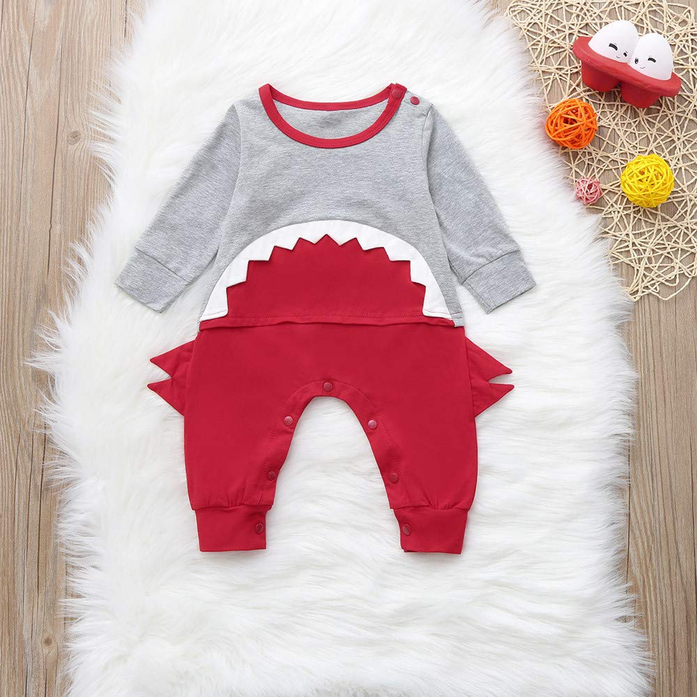 Waymine Infant Boys Girl Long Sleeve Cartoon Animal Stereo Shark Romper Jumpsuit