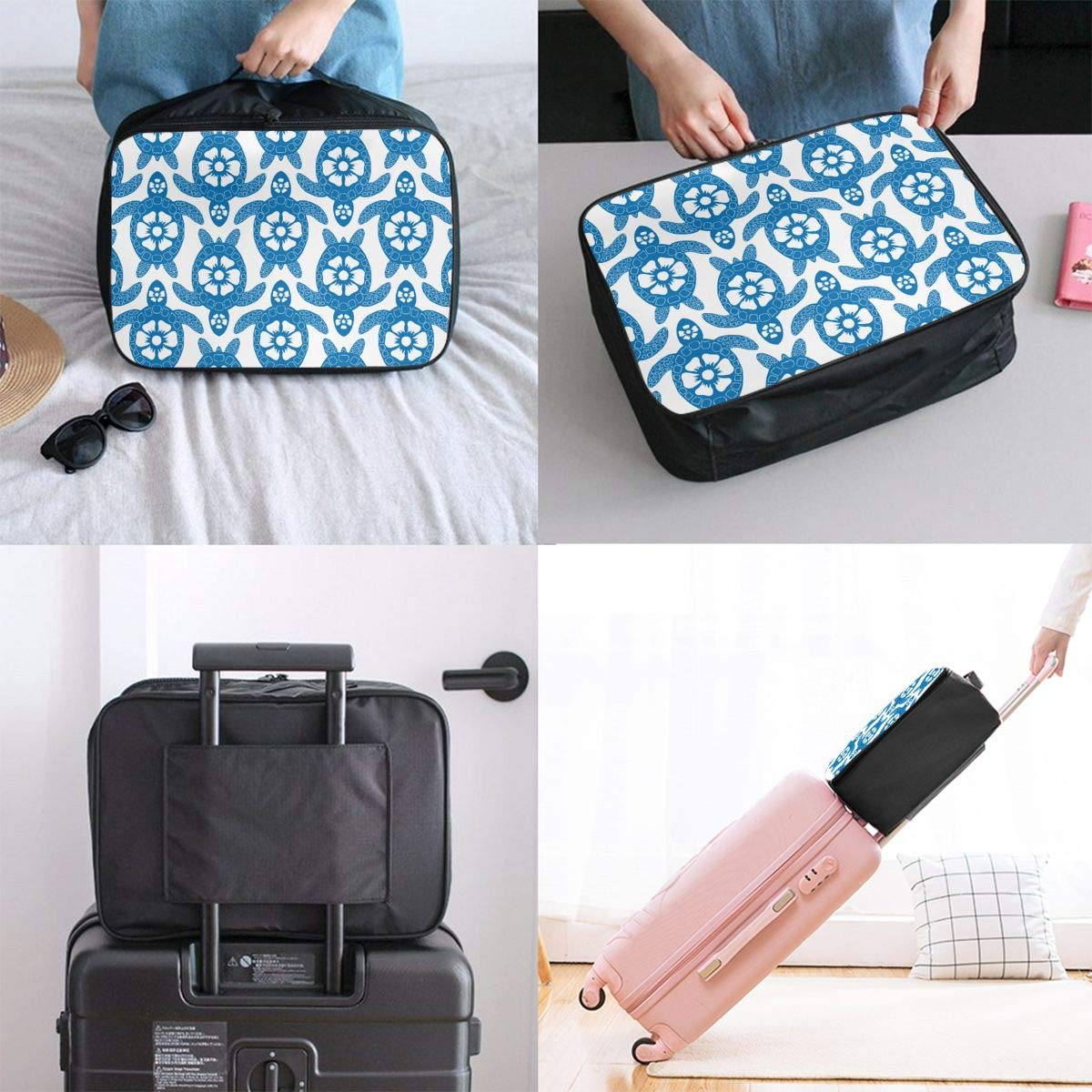 YueLJB Blue Tortoise Pattern Lightweight Large Capacity Portable Luggage Bag Travel Duffel Bag Storage Carry Luggage Duffle Tote Bag