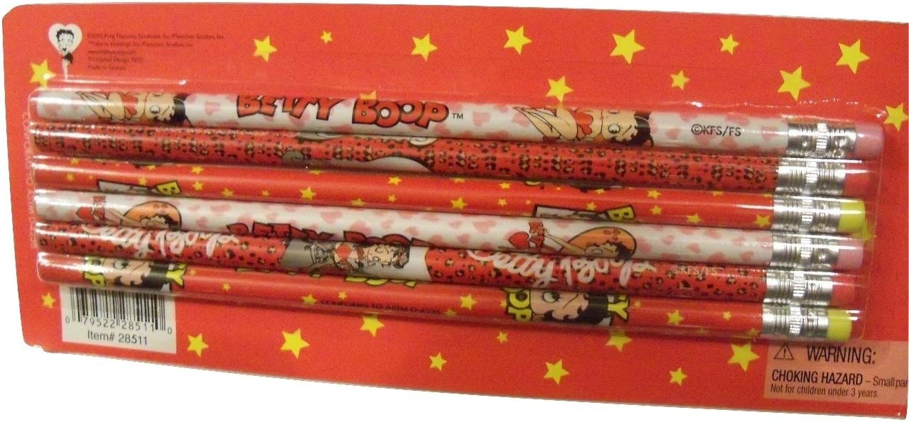 Genuine Betty Boop /'Pink Hearts/' Wooden Pencil with Dog Eraser Charm Ideal Gift