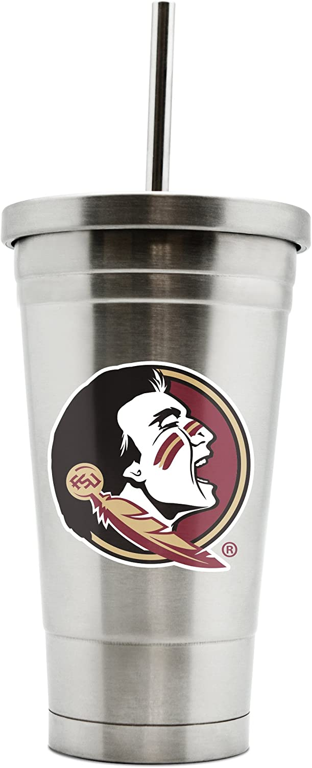 NCAA Florida State Seminoles 17oz Double Wall Stainless Steel Thermo Tumbler with Straw