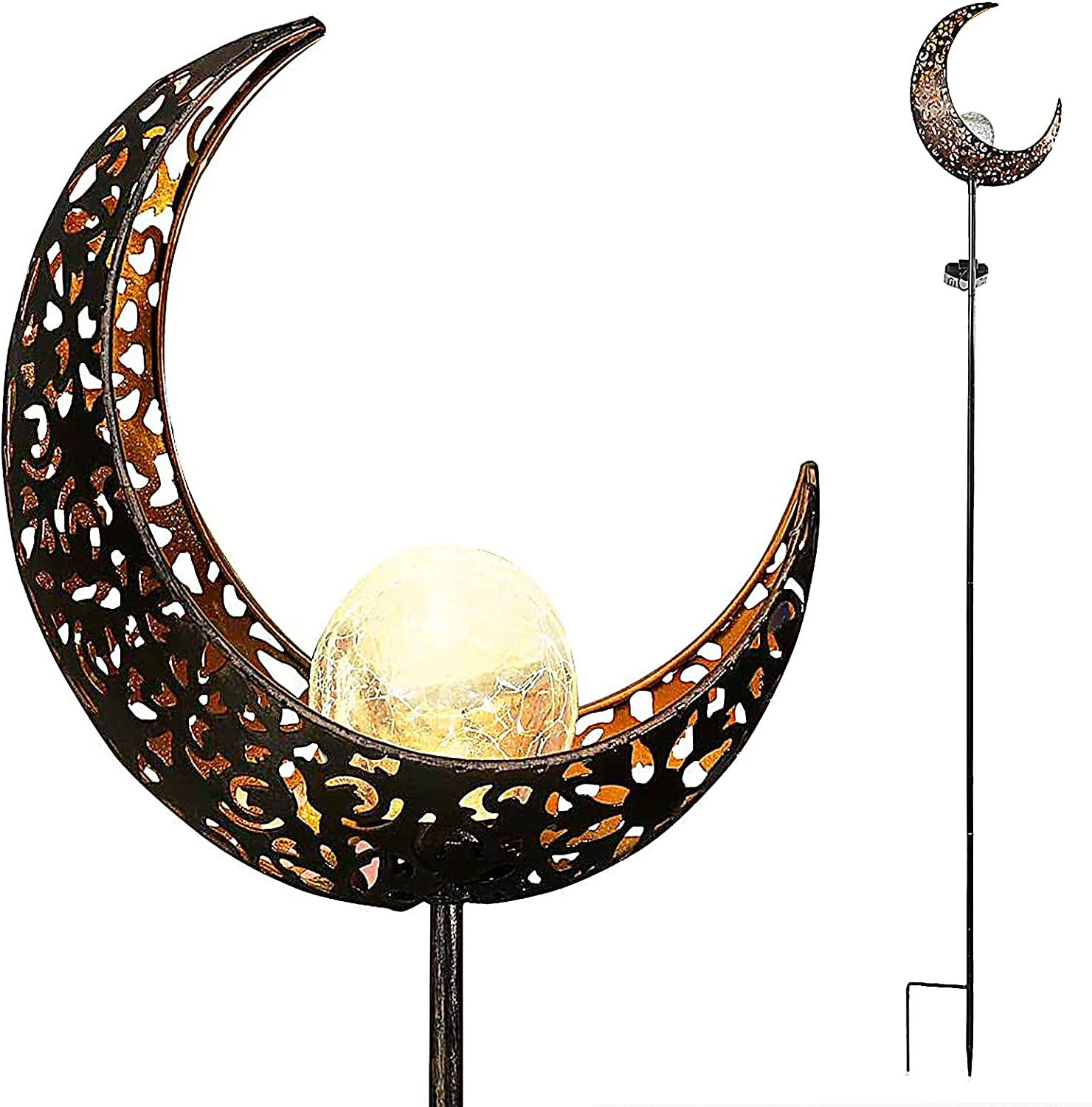Starryfill Garden Solar Lights Outdoor Bronze Moon Crackle Glass Globe Stake Metal Lights Waterproof Warm White LED for Pathway Lawn Patio or Courtyard