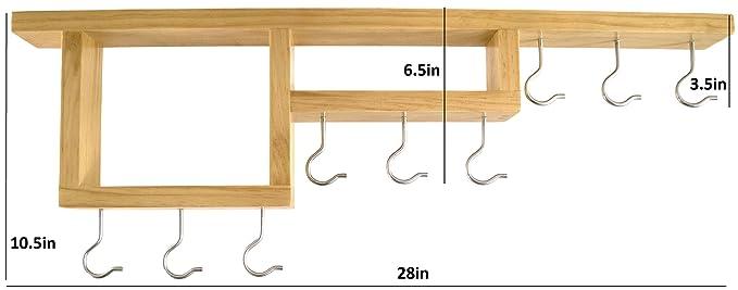 Topf Rack Einfach zu erreichen Deckenhalterung Echtholz Topfh/änger von homeharmony 28 in nat/ürliches holz