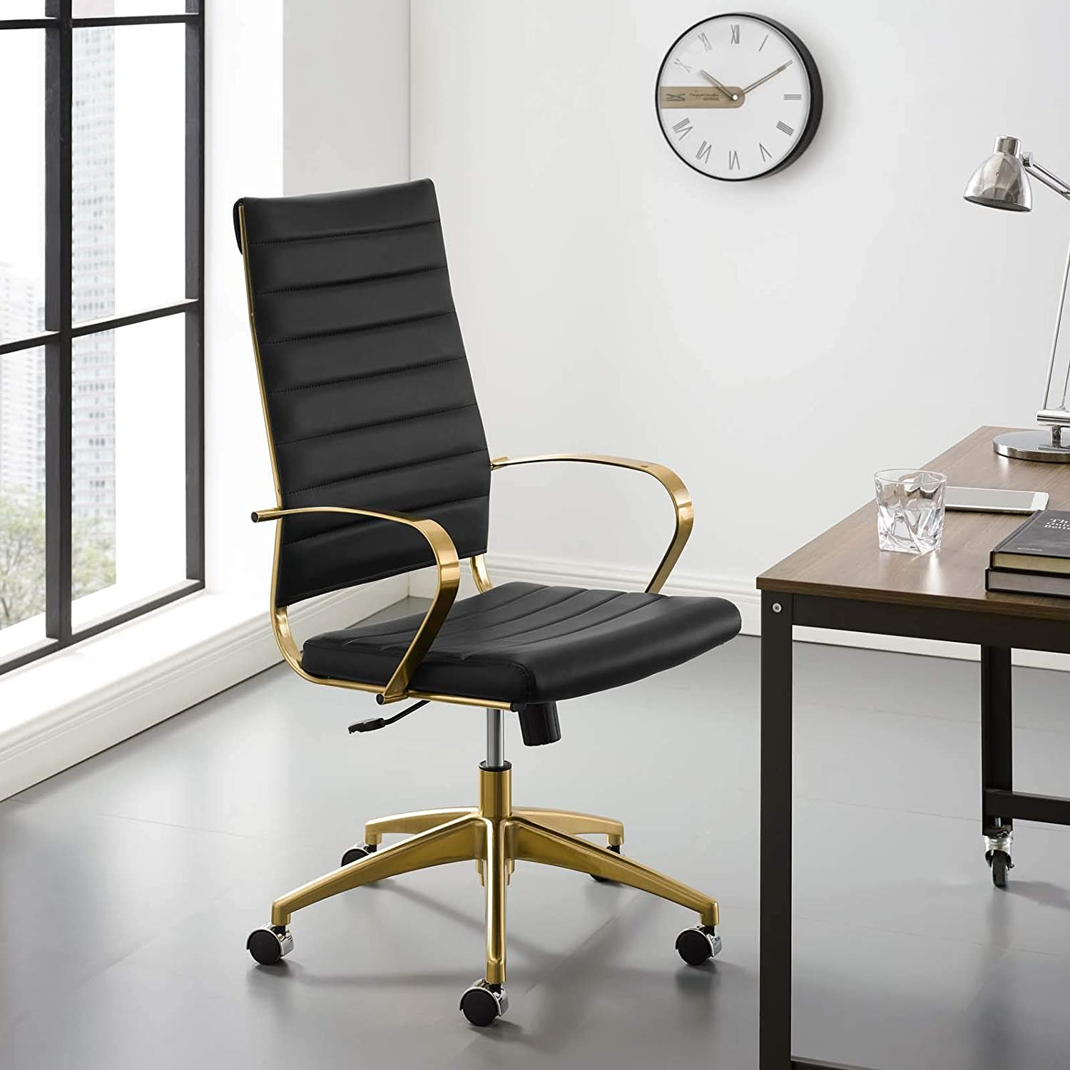 Modway Jive Gold Stainless Steel Executive Managerial Tall Swivel Highback Office Chair