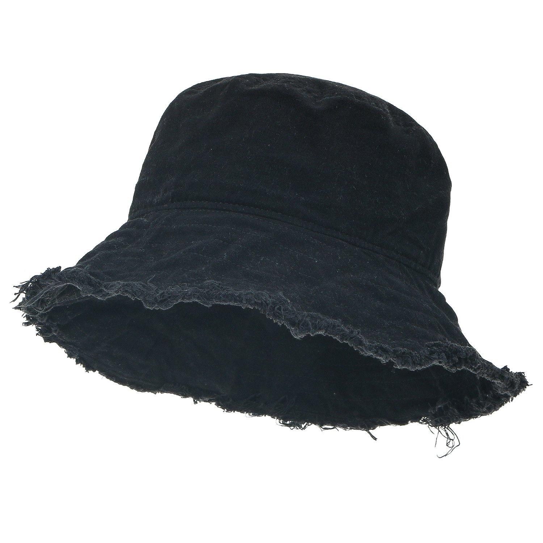 ililily Vintage Cotton Fishing Hat Casual Ripped Edge Bucket Fedora Hat, Black