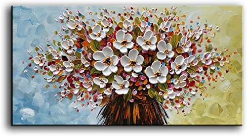baccow – 3D Oil Paintings, 24x48inches Hand-Painted White Flowers Oil Painting On Canvas 3D Texture Floral Paintings Modern Abstract Framed Wall Art for Living Room Ready to Hang