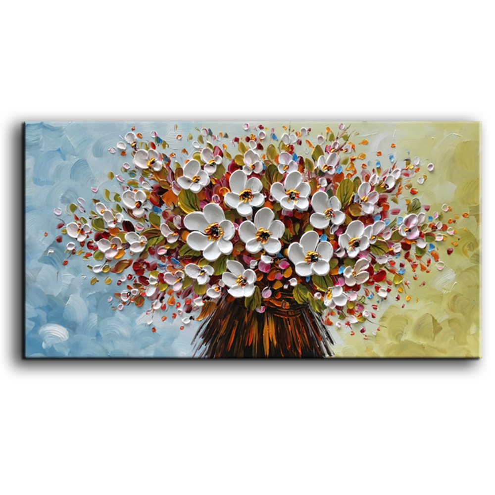 baccow 3D Oil Paintings, 24x48inches Hand-painted White Flowers Oil Painting On Canvas 3D Texture Floral Paintings Modern Abstract Framed Wall Art for Living Room Ready to Hang
