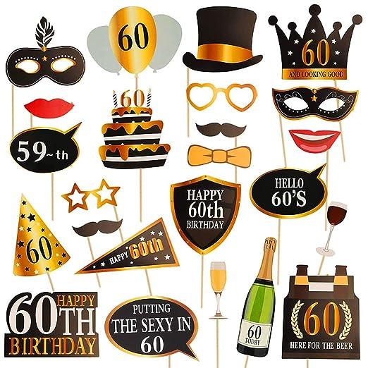 Dsaren 60 años Cumpleaños Photo Booth Props DIY Gracioso Cabina de Fotos Selfie Atrezzo Suministros para Fiestas de Cumpleaños Decoración