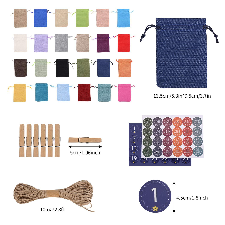 DIY Sachets en Jute Sacs Cadeau avec Etiquettes Num/éro et 24 Pinces en Bois FORMIZON 24 Calendriers de lAvent 24 Couleurs Sac en Tissu de Calendrier de lavent pour Le Remplissage