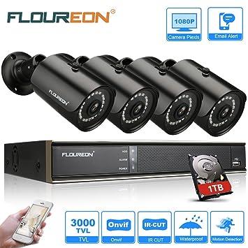 FLOUREON 8CH 3000TVL 1080P DVR CCTV Überwachungskamera Videoüberwachung Set+HDD