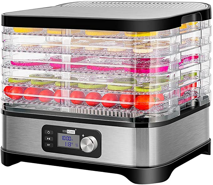 Vivohome Electric 400w 5 Trays Food Dehydrator Machine With Digital Timer And Temperature Control For Fruit Vegetable Meat Beef Jerky Maker Bpa Free Kitchen Dining Amazon Com