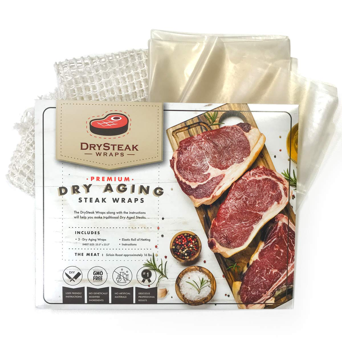 The Sausage Maker - DrySteak Wraps for Dry Aging Meat at Home, Dry Age Sirloin, Ribeye and Short Loin