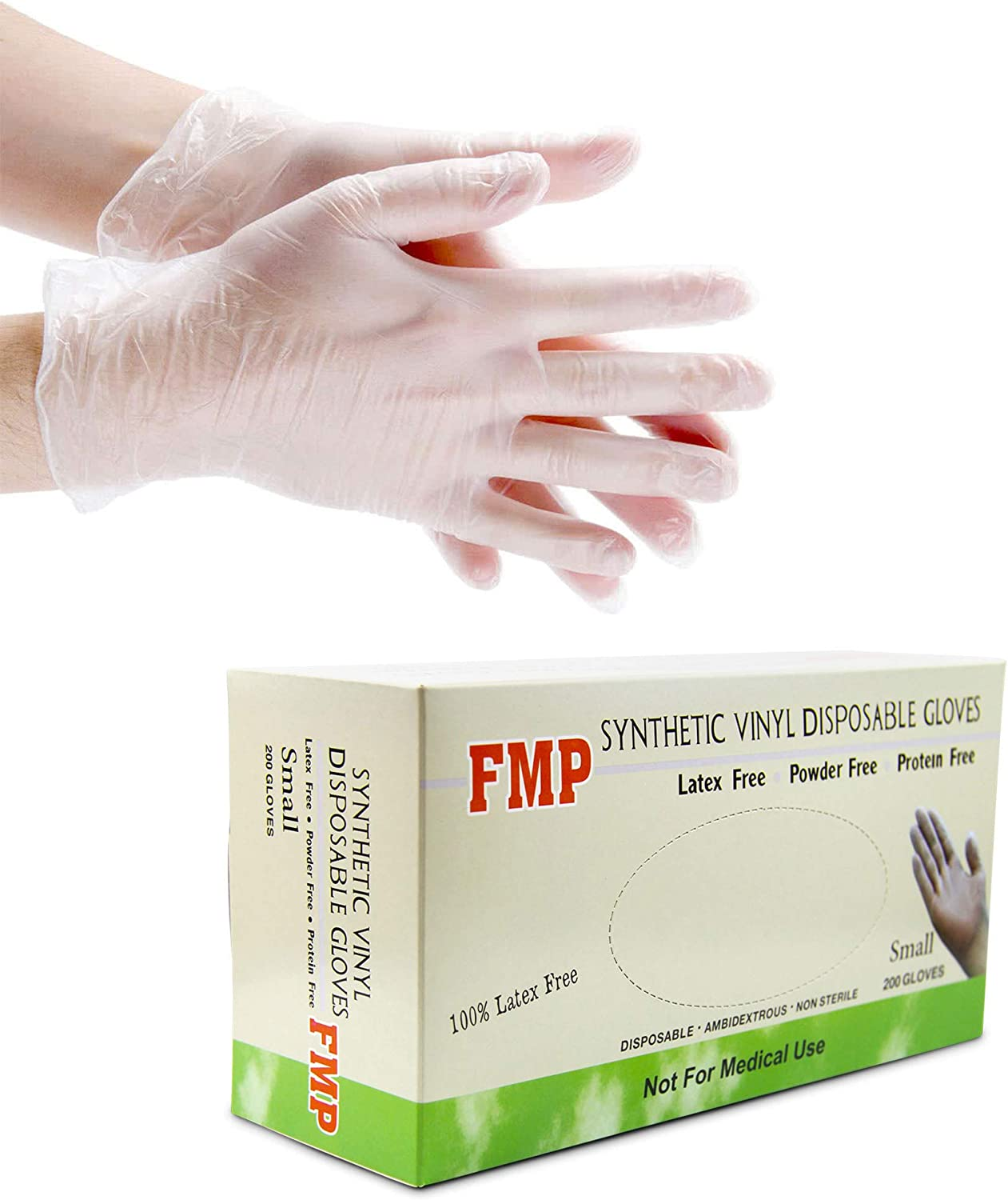 Disposable Vinyl Gloves, Non-Sterile, Powder Free, Smooth Touch, Food Service Grade, Small Size [200 Pack] 71TG5webomL