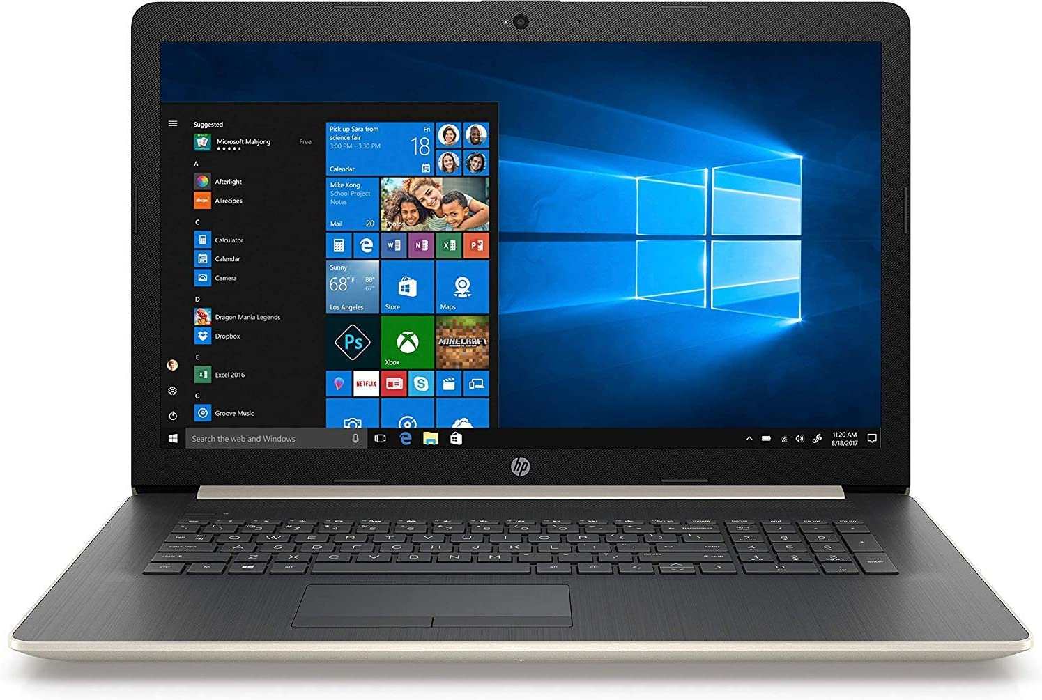 "HP 17.3"" HD+ Notebook Laptop PC, Intel Quad Core i5-8250U Processor, 24GB Memory: 16GB Intel Optane + 8GB RAM, 2TB Hard Drive, Optical Drive, HD Webcam, Backlit Keyboard, Windows 10 (Gold)"