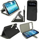 iGadgitz Premium Executive Flip Black PU Leather Case Cover for Samsung Galaxy Mega 6.3 I9200 With Sleep Wake + Magnetic Closure + Screen Protector