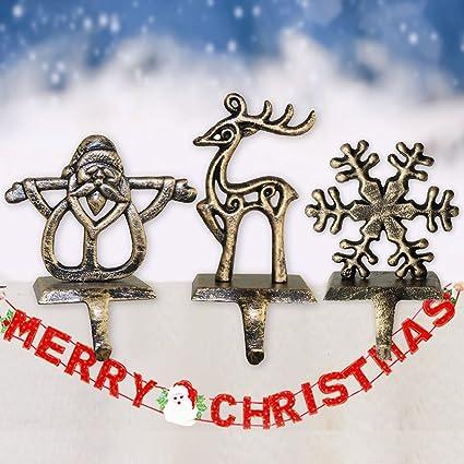 3 colgadores de calcetines de Navidad, decoración de Navidad para la chimenea, consumibles navideños