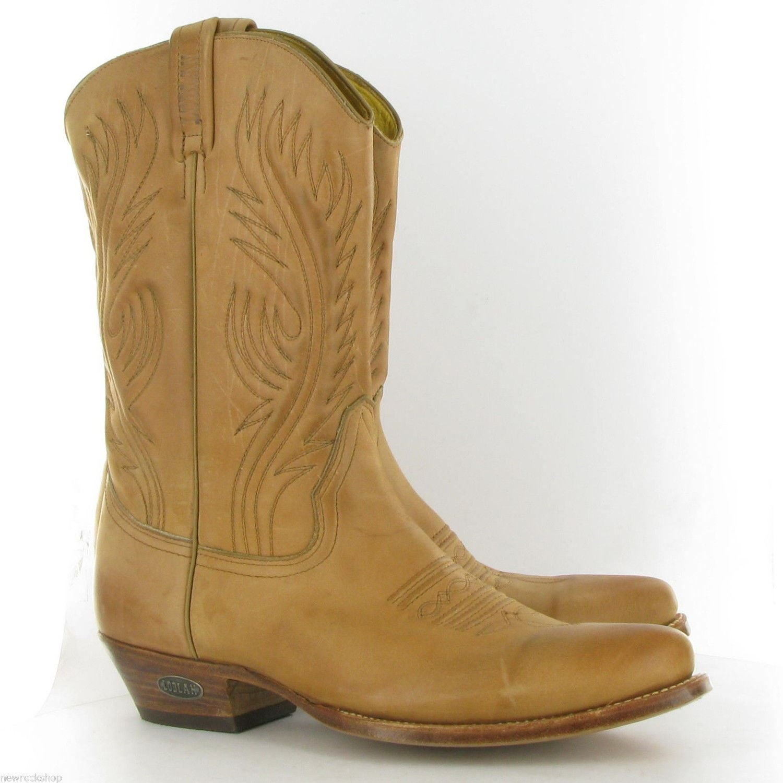 Loblan 194 Stivali Cowboy Vera Pelle Western a Punta Decori