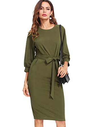 0d68c379b4 Floerns Women's Lantern Sleeve Tie Waist Midi Office Dress Army Green XS