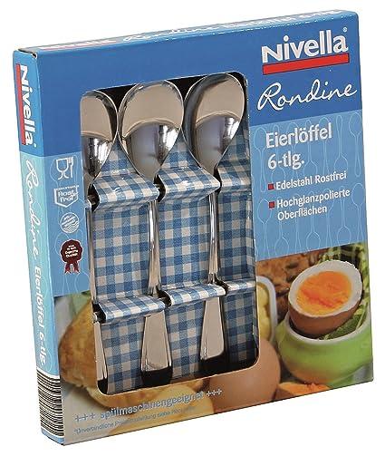 Nivella – Rondine – Cubertería (6 piezas., acero inoxidable, Eierlöffel