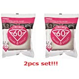 [2pcs Set] Hario V60 Misarashi Coffee Paper Filter (Size 01, 100 Count, White) 200 Total