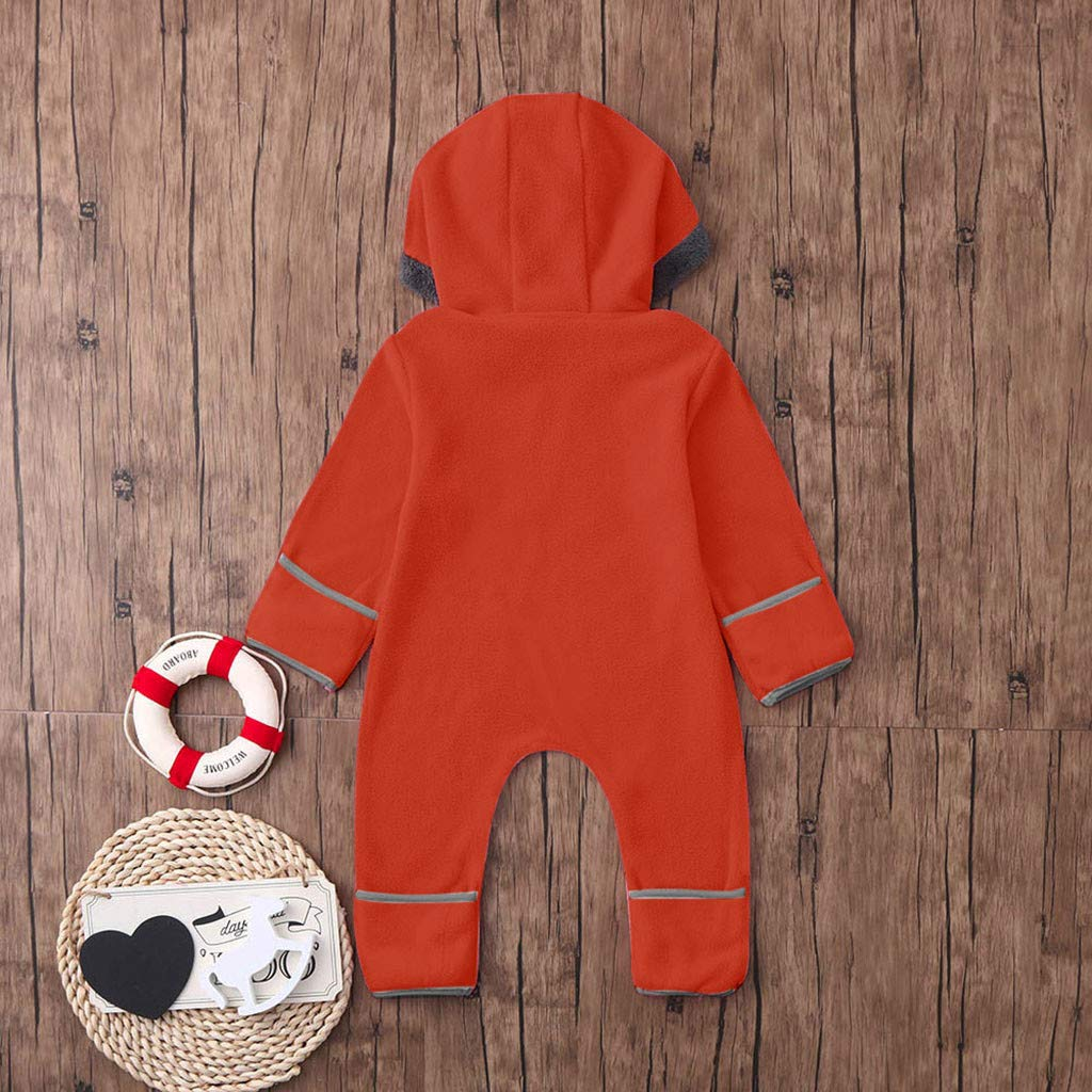 Heberry 0-24 Months Infant Baby Girls Boys Fleece Ears Hoodie Romper Clothes Jumpsuit