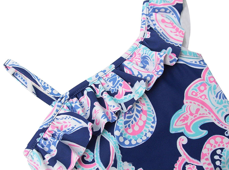 Looching Girls One Piece Swimsuits One Shoulder Ruffle Floral Swimwear Bathing Suit