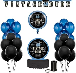 Vintage Dude 40th Birthday Party Decoration Bundle! 40th Birthday Celebration Decor Bundle Includes - Jointed Banner, Honeycomb Centerpiece, Balloons and Curling Ribbon!!