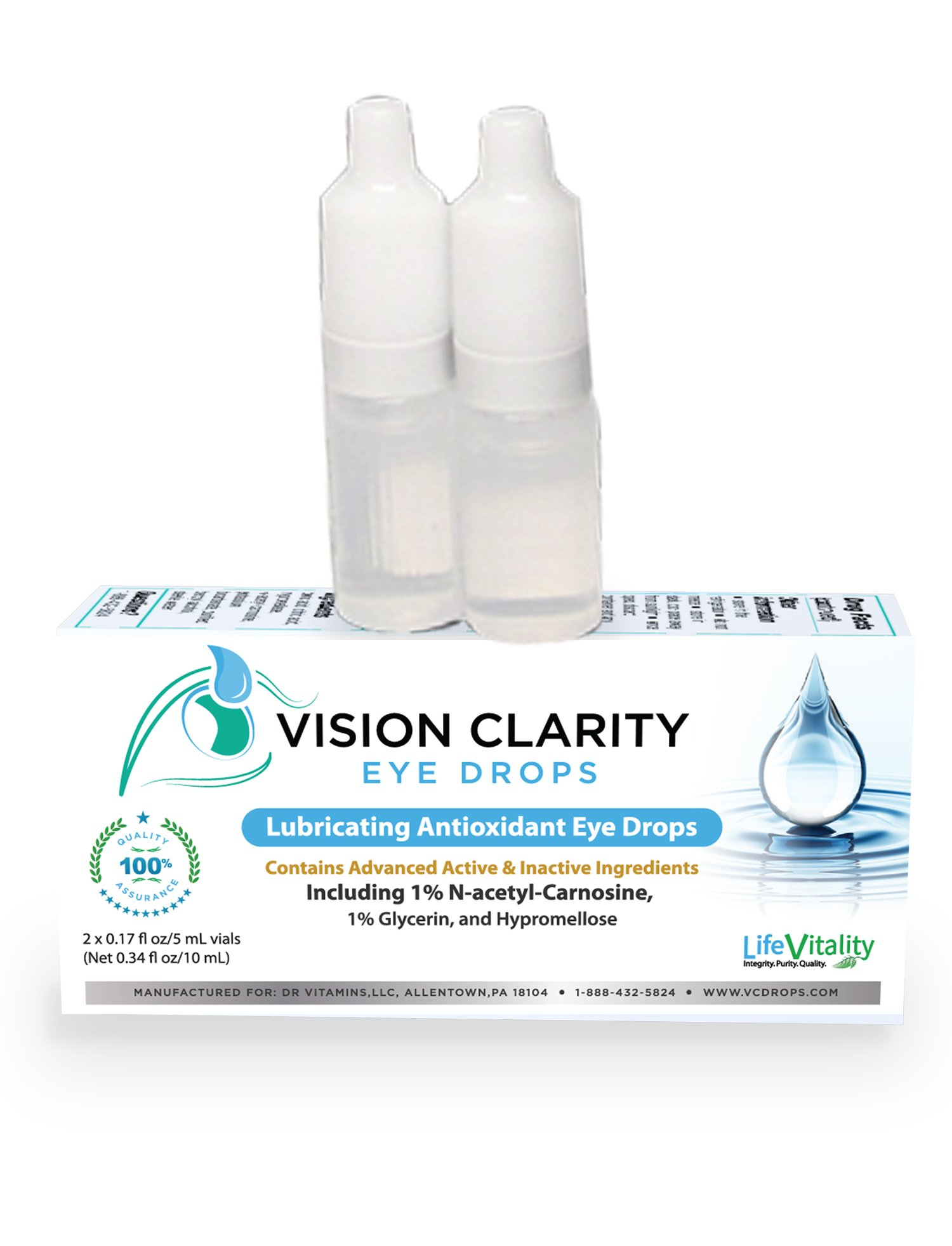 Vision Clarity Eye Drops containing 1% Carnosine (NAC Drops), Lubricants, two 5ml vials, for Dry Eyes and More