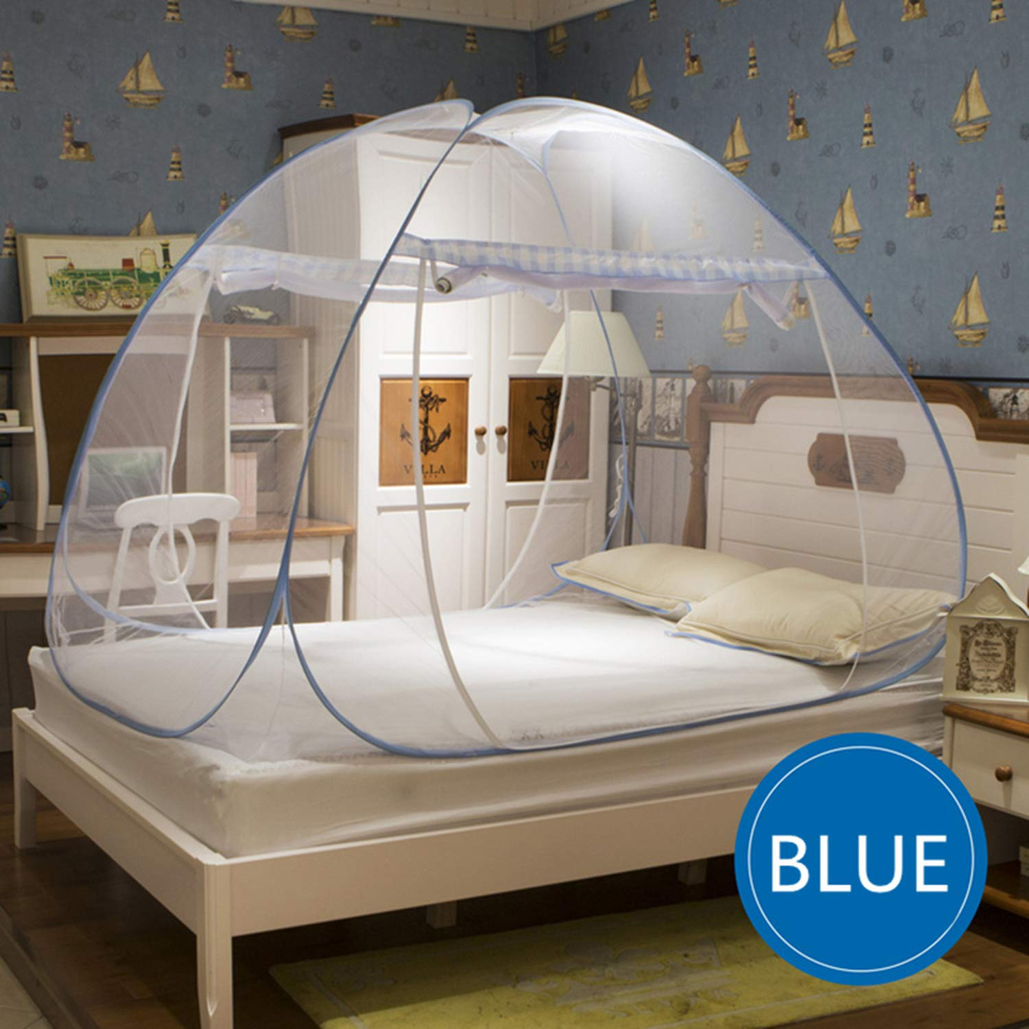 Portable Round Mosquito Net for Single Double Bed Adults Bed Canopy Home Bug Insect Bed Tent Anti Mosquito Mesh Netting klamboe,Brown,1.8m (6 feet) Bed by SuWuan mosquito net (Image #2)