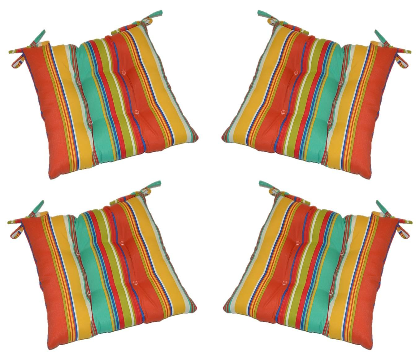Set of 4 – Indoor Outdoor Coral, Yellow, Turquoise Bright Colorful Stripe Universal Tufted Seat Cushions with Ties for Dining Patio Chairs – Choose Size 17 1 2 x 17 1 2