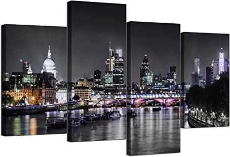 Wallfillers Canvas Wall Art Of London Skyline For Your Living Room 4 Panel Pictures 130cm X 67cm Black White Posters Prints