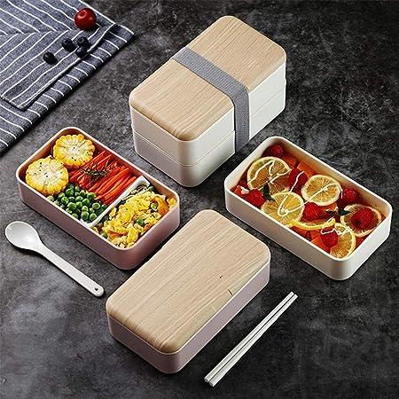 SMX Los japoneses Bento Caja Original w/Free Bento Guía Ideas de Alimentos + 2 divisores + Utensilios más Grandes w/Soporte - A Prueba de Fugas envase del Almuerzo (Color : Pink): Amazon.es: Hogar