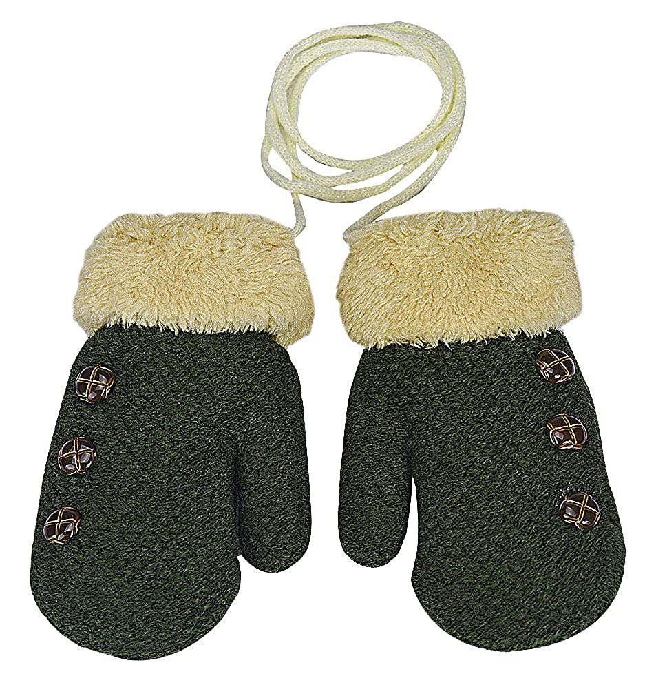 Celino Childrens Cotton Acrylic Button Details Faux Fur Cuff Knit Winter Mitts