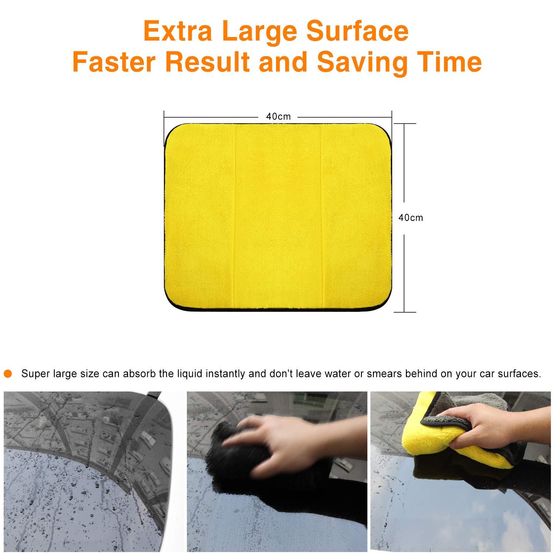 Panno in Microfibra 1200GSM Estremamente Assorbente per Lavaggio Auto o Uso Domestico KOYOSO Panni Microfibra Auto 3 PCS