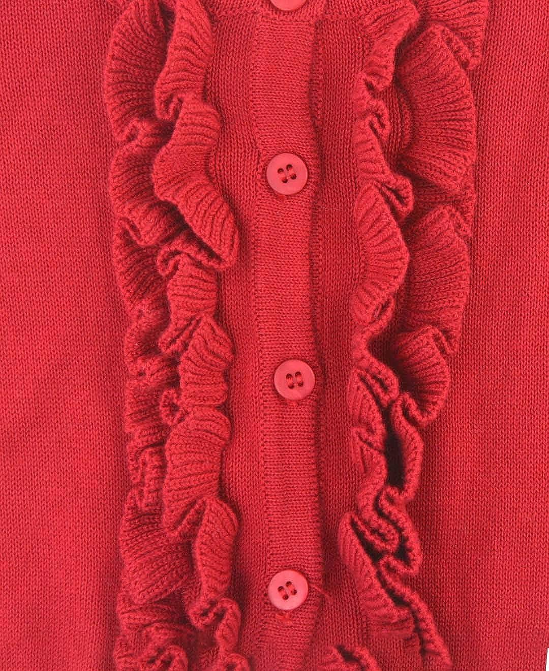 RuffleButts Little Girls Ruffled Long Sleeve Cardigan Button-Up Sweater
