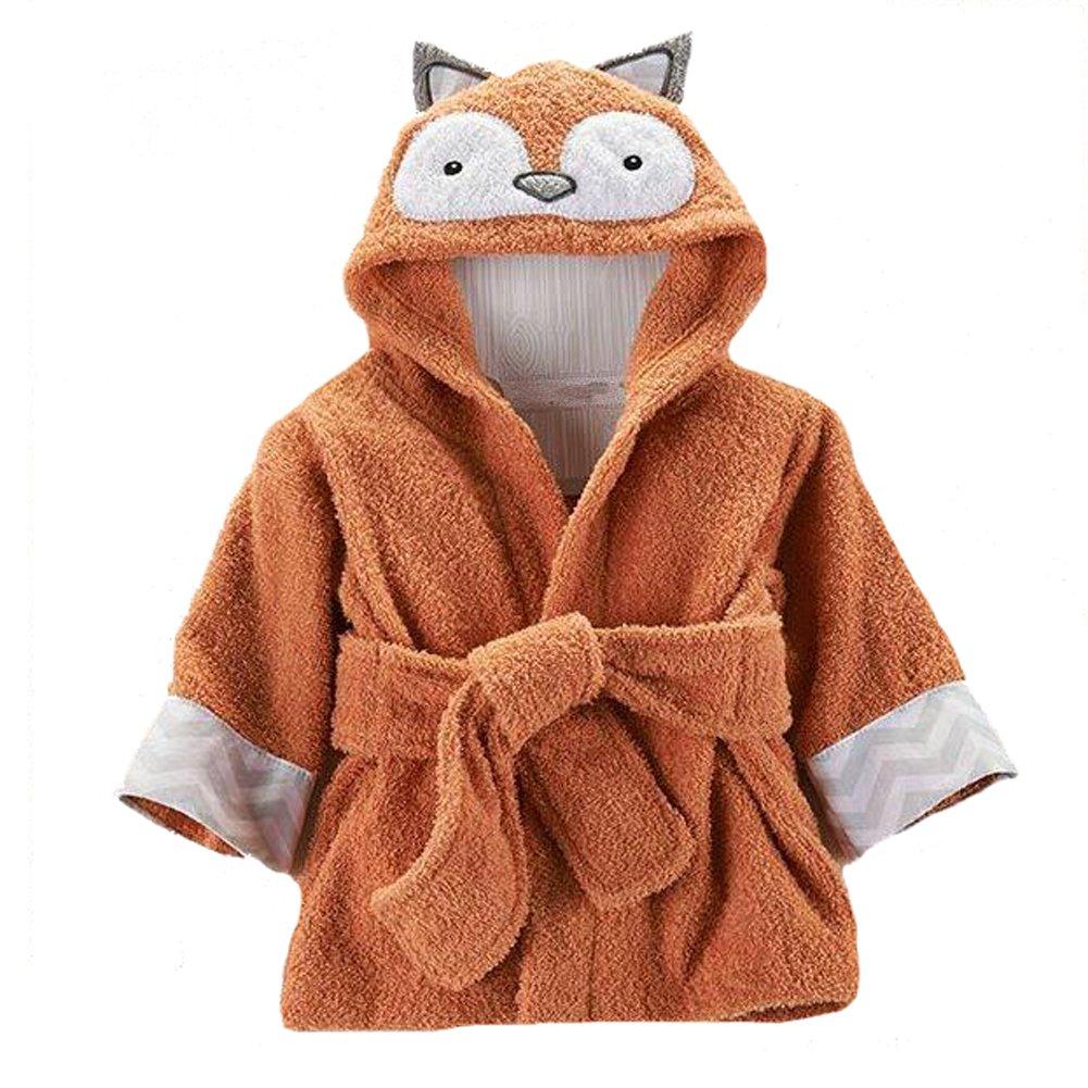 Yunsenshop Baby Girls & Boys Hooded Animal Bathrobe Robes Bath Towel Super Soft Fox