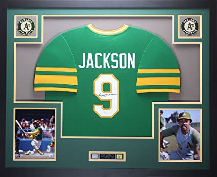 premium selection 23f8b 2eb40 Reggie Jackson Autographed Green A's Jersey - Beautifully ...