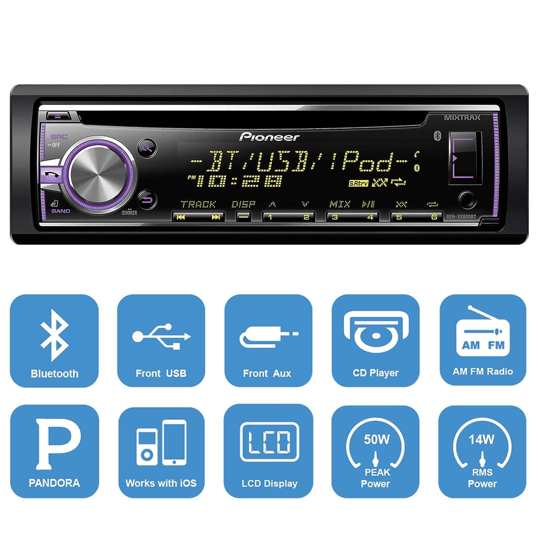 Amazon.com: Harley Audio Package Of Pioneer DEH-X6800BT Bluetooth CD ...