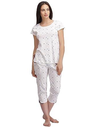 d279909f7f Clovia Women s Printed Top   Capri Set (LS0196P18 White XX-Large ...