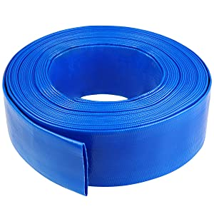 1-1/4 100' Blue PVC Lay-Flat Backwash Hose for Swimming Pools, Heavy Duty Discharge Hose Reinforced Pool Drain Hose, Weather Resistant Ideal for Water Transferring